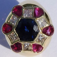 3.4 ct. t.w. Sapphire, Ruby and Diamond Ring in 18k Yellow Gold