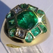 4.05 cw. t.w. Emerald and 0.49 cw. t.w. Diamond Ring in 18k Yellow Gold