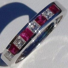 Channel Set 0.47 cw. t.w. Ruby and 0.49 cw. t.w. Diamond Eternity Ring in 18k White Gold