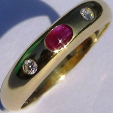 Three Stone Cabochon Ruby and Diamond Ring in 18k Yellow Gold