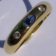 Three Stone Cabochon Sapphire and Diamond Ring in 18k Yellow Gold