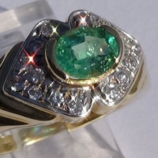 Two Tone Gold Half Bezel Set Emerald and Pave Diamond Ring