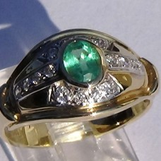 Two Tone Gold Bazel Set Oval Emerald and Diamond Accent Ring