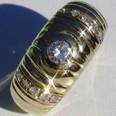Half Bezel Set 0.48 cw. t.w. Diamond Ring in 18k Yellow Gold