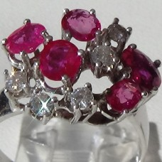 Round Ruby and Diamond Cluster Ring in 18k White Gold