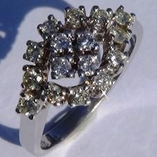 1.0 cw. t.w. Diamond Cluster Ring in 18k White Gold