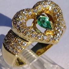 Prong Pave Diamond and Pear Emerald Heart Ring in 18k Yellow Gold