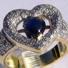 Prong Pave Diamond and Cabochon Sapphire Heart Ring in 18k Two-Tone Gold