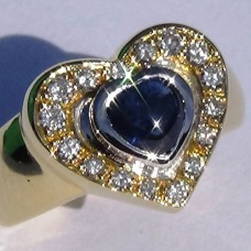 Cabochon Sapphire and Diamond Pave Heart Ring in 18k Two Tone-Gold