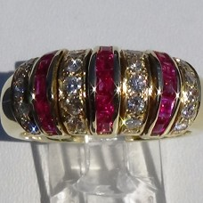 Channel Set Round Diamond and Princess Ruby Ring in 18k Yellow Gold