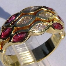Bezel Set Three Row Marquise Diamond and Ruby Ring in 18k Yellow Gold