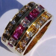 Three Row Princess Diamond and Ruby Ring in 18k Yellow Gold
