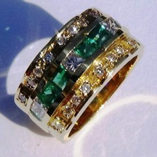 Three Row Princess Diamond and Emerald Ring in 18k Yellow Gold