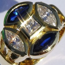 Bezel Set Marquise Diamond and Sapphire Ring with Princess Center in 18k Yellow Gold