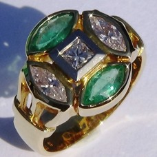 Bezel Set Marquise Diamond and Emerald Ring with Princess Center in 18k Yellow Gold