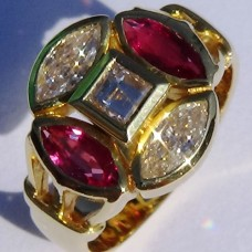 Bezel Set Marquise Diamond and Ruby Ring with Princess Center in 18k Yellow Gold