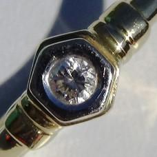 Hexagon Bezel Diamond Promise Ring in Two-Tone Gold