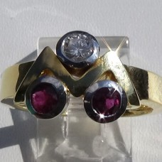 Three Stone Ruby and Diamond Ring with ZigZag Accent in 18k Yellow Gold