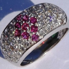 1.45 cw.tw. Diamond and Ruby Pave Ring in 18k White Gold Ring