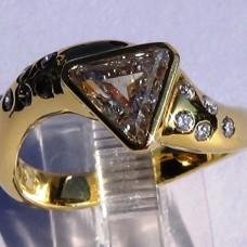 1.45 ct Trillion Diamond Ring inYellow Gold
