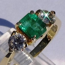 Emerald Cut Emerald with Pear Shaped Diamond Ring in 18k Yellow Gold
