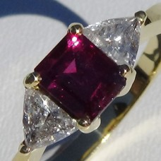 Emerald Cut Ruby with Trillion Diamonds Ring in 18k Yellow Gold