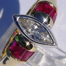 0.54 ctw Marquise Diamond with Baguette Ruby Ring in 18k Two-Tone Gold