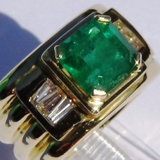 Emerald Cut Emerald with Baguette Diamond Wide Band Ring in 18k Yellow Gold