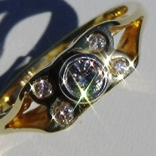 Split Shank Bezel Set Diamond with Flush Set Accent Stone Ring in 18k Yellow Gold