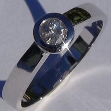 0.23 ctw Bezel Set Diamond Promise Ring in 18k White Gold