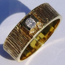 Saw Cut Textured Half Bezel Set Diamond Ring in 18k Yellow Gold