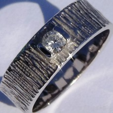 Saw Cut Textured Half Bezel Set Diamond Ring in 18k White Gold