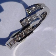 Channel Set Diamond Bypass Ring in 18k White Gold
