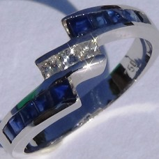 Channel Set 0.16 ctw Diamond and Sapphire Bypass Ring in 18k White Gold