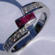 Channel Set 0.69 ctw Diamond and Ruby Bypass Ring in 18k White Gold