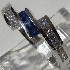 Channel Set 0.69 ctw Diamond and Sapphire Bypass Ring in 18k White Gold