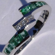 Channel Set 0.16 ctw Diamond and Emerald Bypass Ring in 18k White Gold